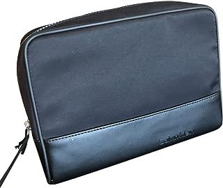 Calvin Klein Leather Nylon Travel Cosmetic Toiletry Bag Case