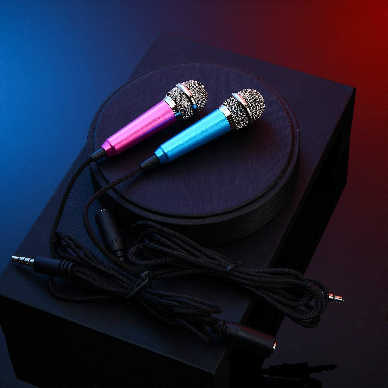Mini microphone portable pour karaok/é Compatible avec t/él/éphone portable et ordinateur portable Prise 3,5 mm Argent/é