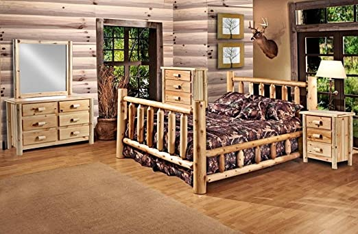 Amazon Com Rustic 5 Pc Pine Log Bedroom Suite Lodge Bed Queen Furniture Decor