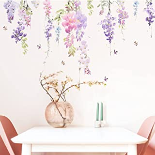 V.Klife Watercolor Wisteria Floral Wall Art Stickers Dragonfly Butterfly Wall Decal,Removable Purple Dandelion Wall Mural ...