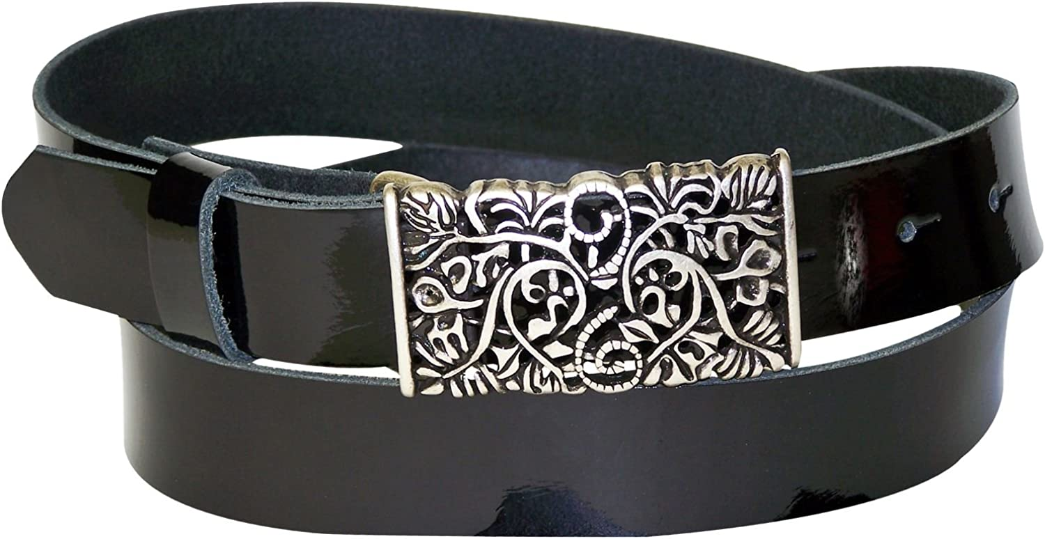FRONHOFER patent leather belt, silver floral buckle, women's belt 1.2' 3cm 18215, Size waist size 43.5 IN XL EU 110 cm, color Black patent