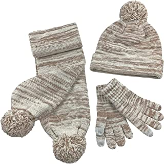 N'Ice Caps Girls Sherpa Lined Cable Knit Touchscreen Glove/Hat/Scarf Set