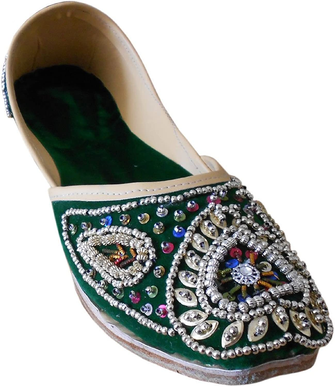 Kalra Creations Mojari Designer Leather Women shoes Flip-Flops Wedding Indian Handmade Green