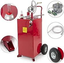 Stark 30 Gallon Gas Caddy Tank Gasoline Fluid Diesel Fuel Transfer Storage Dispenser with Pump, Red
