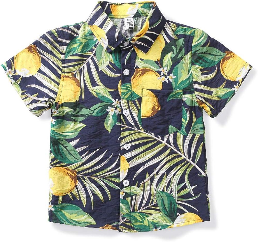Phorecys Kids Big Boys Hawaiian Shirts Tropical Tops Button Down Short Sleeve Aloha Shirts