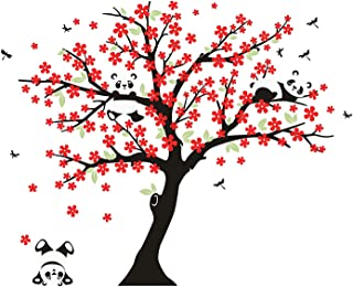 AIYANG Cherry Blossom Tree Wall Decal Panda Wall Decals for Nursery Baby Room Decoration (Black,Red)