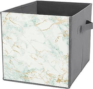 Boîtes de rangement cubiques pliables - Blanc, vert menthe, marbre, doré, gris - Glam - Résistantes - Avec poignées de tra...