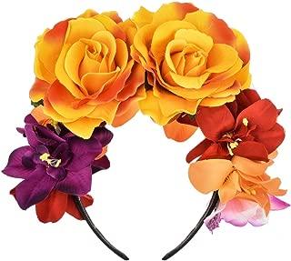 DreamLily Frida Kahlo Mexican Flower Crown Headband Dia de Los Muertos Headpiece Party Costume NC27