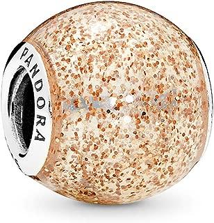 Jewelry - Glitter Ball Charm in Sterling Silver with Rose Golden Glitter Enamel