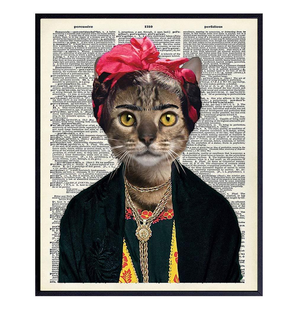 Frida Kahlo Mesa Mall Cat Wall Mail order Decor - Funny Veterina Art Print