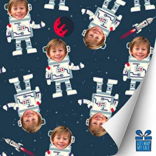 My Face Gift Wrap Astronaut Custom Gift Wrap, Personalized Gift Wrapping Paper with Your Face