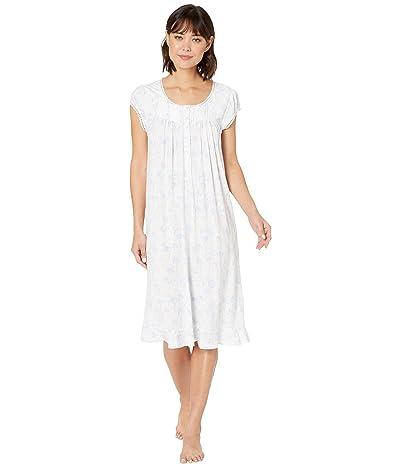 Eileen West Modal Spandex Jersey Cap Sleeve Waltz Nightgown (White Ground/Peri Floral) Women