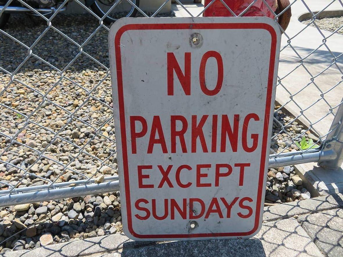 強風自我者NO PARKING ロードサイン 駐車禁止 横断歩道 ヴィンテージ アメリカ 看板 道路標識 ガレージ (078)