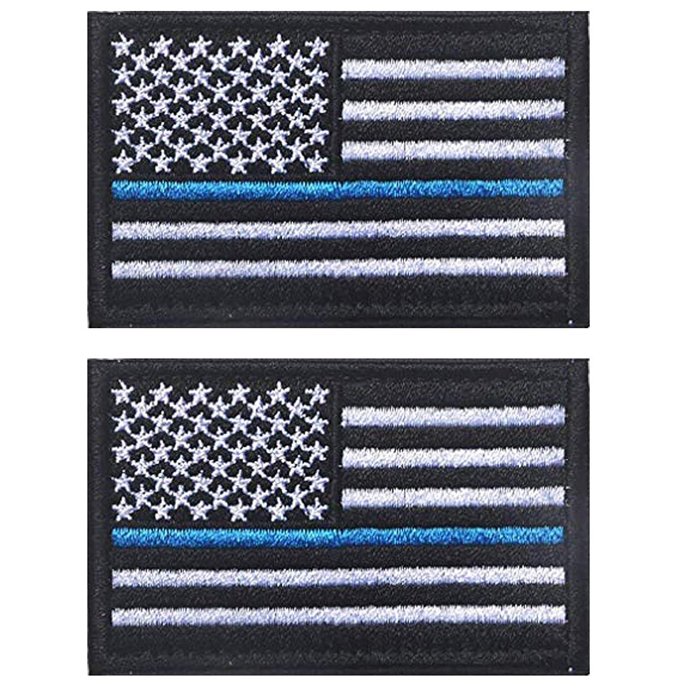 ShowPlus American USA US Flag Patch Military Embroidered Tactical Patches Morale Shoulder Applique (Black & White Blue Line 2pcs)