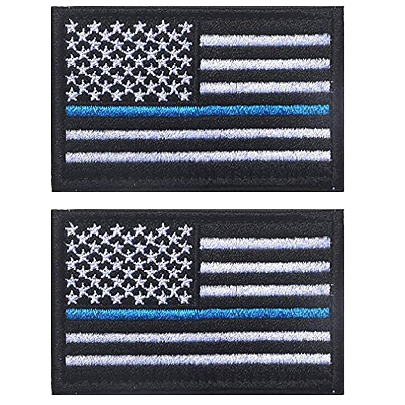 ShowPlus American USA US Flag Patch Military Embroidered Tactical Patches Morale Shoulder Applique (Black & White Blue Line 2pcs)