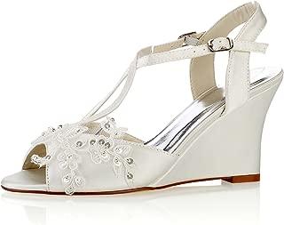 Emily Bridal Lace Wedding Shoes Ivory Peep Toe Flowers Detail Wedge Shoes Ankle Strap Bridal Shoes
