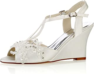 Emily Bridal Lace Wedding Shoes Ivory Peep Toe Flowers Detail Wedge Shoes Ankle Strap Bridal Shoes