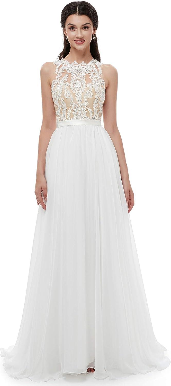 Ikerenwedding Women's Jewel Lace Applique Sleeveless Tulle Beach Wedding Dress
