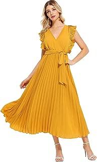 Milumia Women Wrap Dress Fit Flare Ruffle Sleeveless Summer Retro Sundress