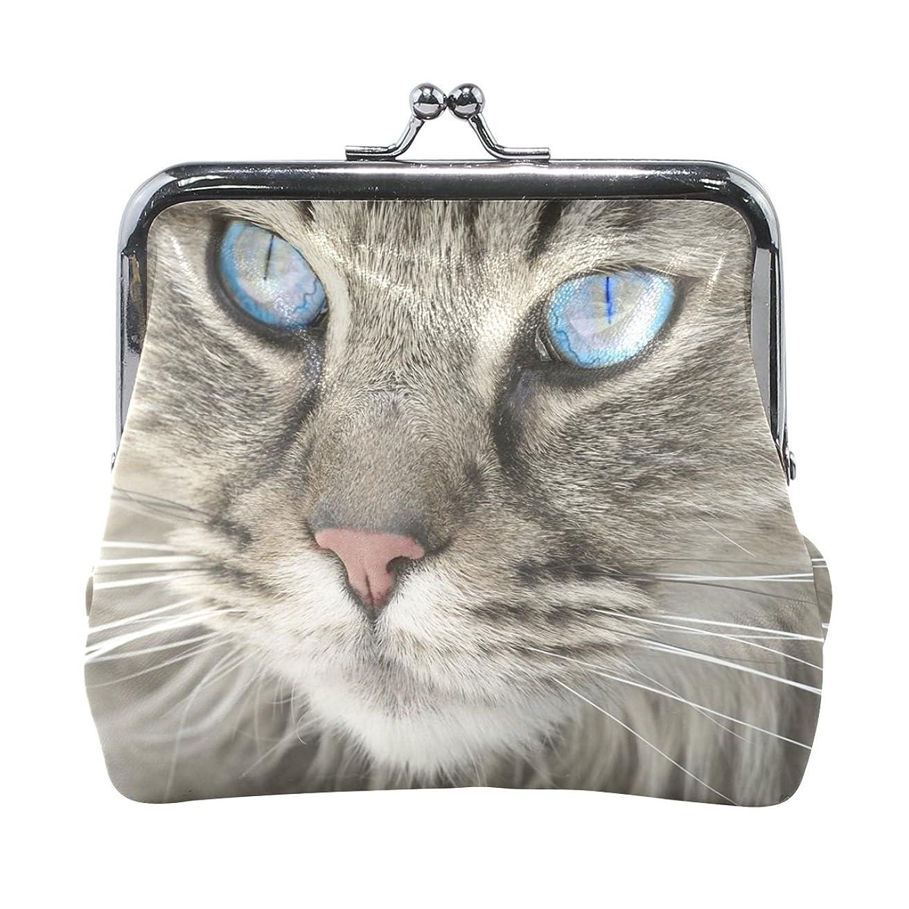 リテラシー余裕があるフィドルAOMOKI 財布 小銭入れ ガマ口 コインケース レザー 猫柄 ブルー 警備 瞳 綺麗