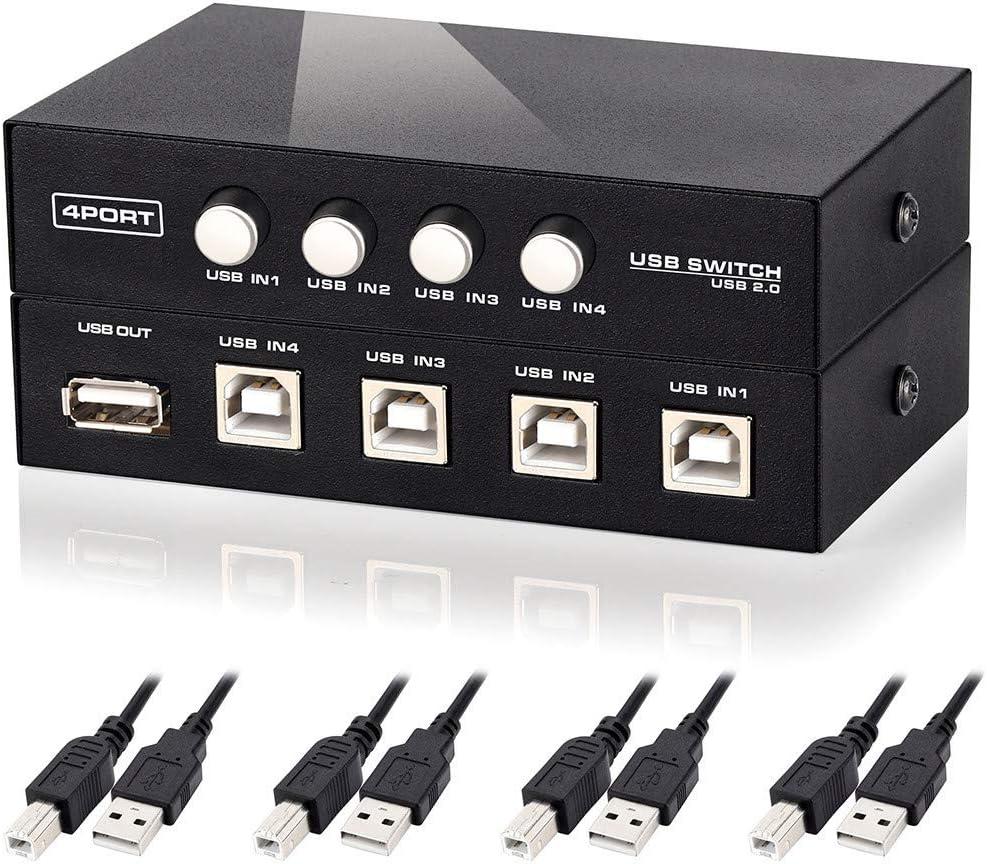 Printer Splitter,4 Port USB 2.0 Manual Printer Scanner Sharing Switch Hub 4 PC to 1 Splitter Adapter,4 Pack USB A to B Printer Cable