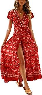 3390ff5c60a Cindeyar Été Bohème Robe Longue Femme Deep V à Manche Courte Vintage  Imprimé Floral Maxi Robe