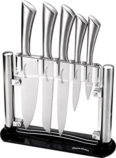 Premium Class Stainless Steel Kitchen 6 Piece Knives Set (5 Knives plus an Acrylic Stand) - by Utopia Kitchen (Renewed)