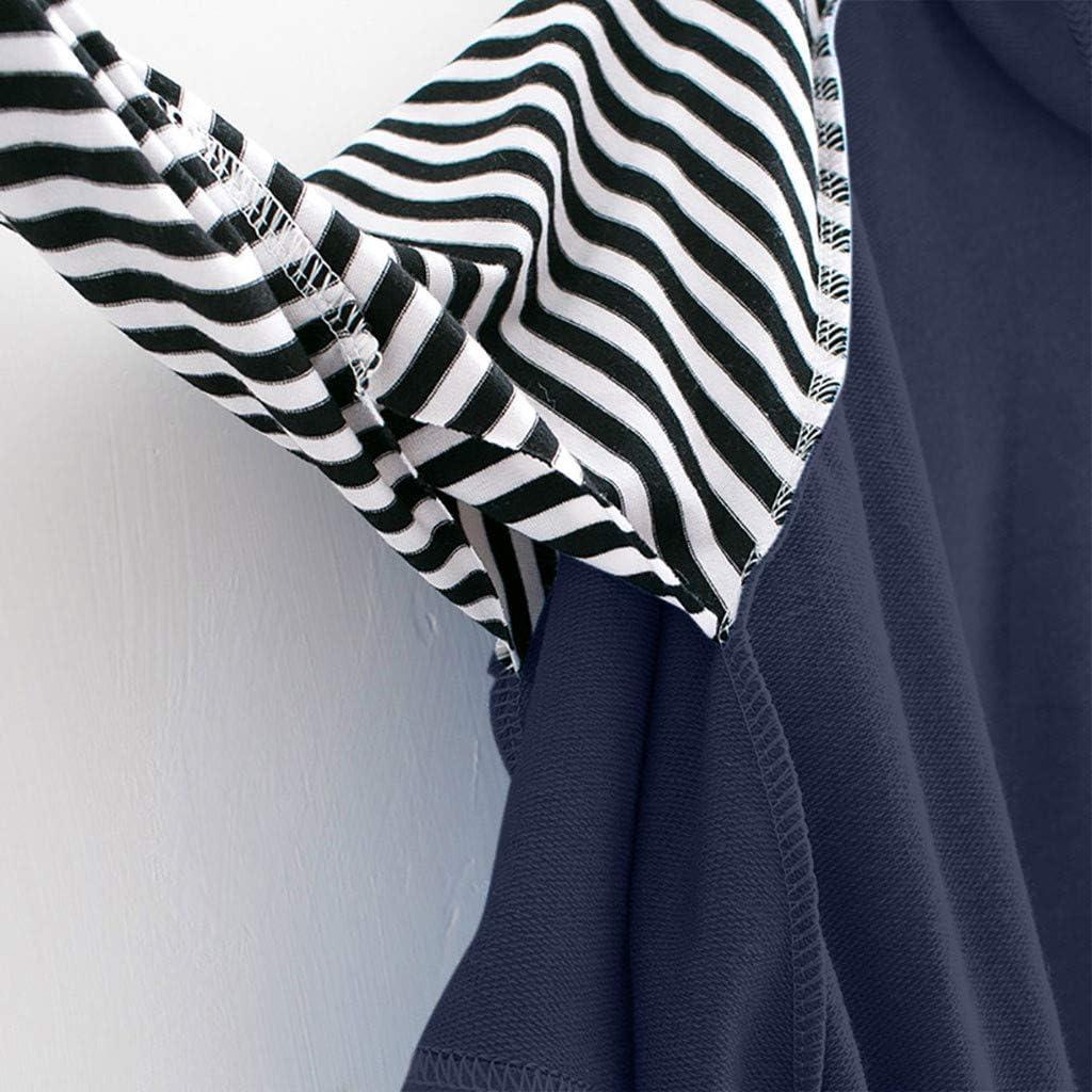 Damen Sweatshirt,Geili Frauen Mädchen Freizeit Sweatshirt mit Kapuze Langarm Crop Tops Striped Patchwork Bluse Herbst Basic Oberteile Pullover Tops Kapuzenpulli mit Tasche Marine