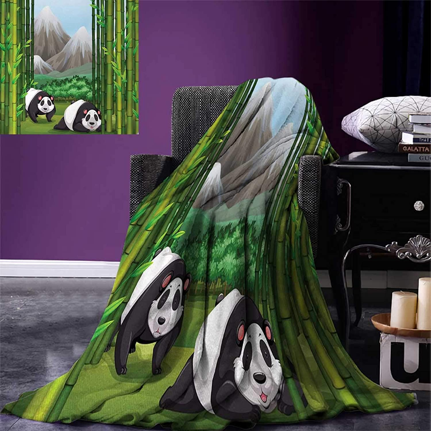Anniutwo Tropical Travel Throw Blanket Panda Bears Walking Among Bamboo Majestic Mountain Jungle Cartoon Illustration Velvet Plush Throw Blanket 60 x50  Multicolor