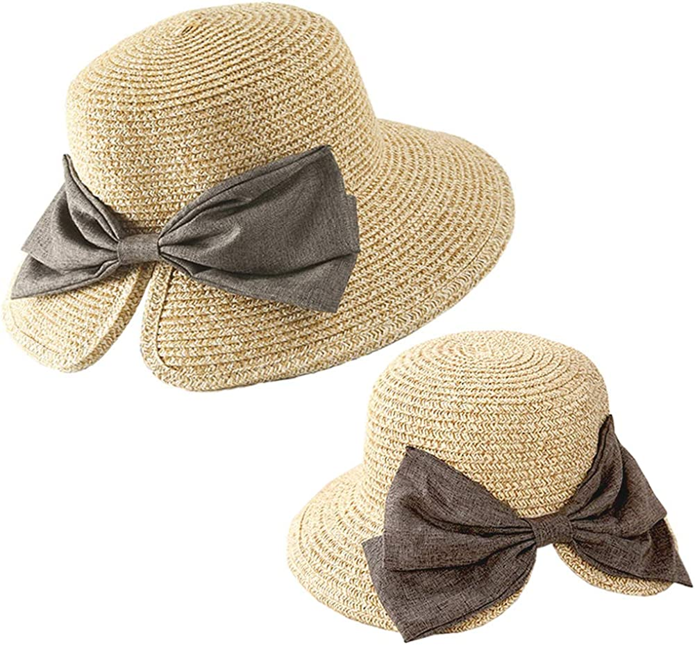 Julylee 2PCS Parent-Child Straw Hat Beach Women's Our shop OFFers the best service Girls Max 69% OFF Bowknot