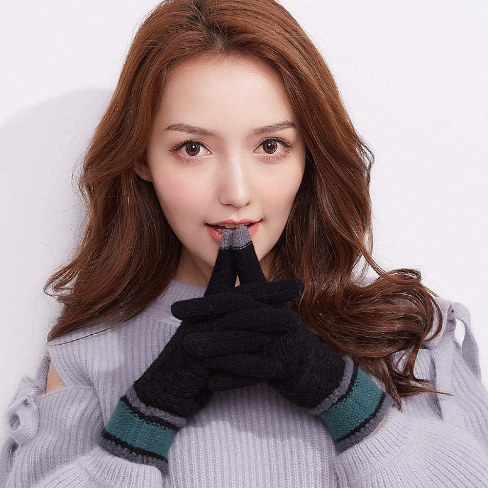 Women's Cold Weather Gloves Outdoor touch screen cute knit five fingers plus fluffy yarn points
