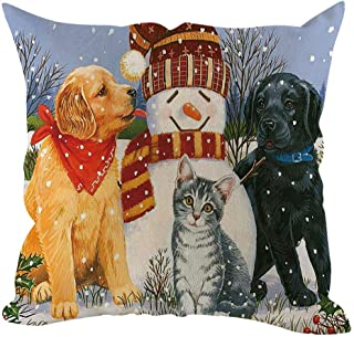 JustWin Christmas Square Animal Print Pillowcase Sofa Cushion Cover Home Decoration18 X 18 inch