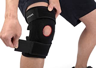 Knee Brace Support, Arespark Breathable Knee Stabilizer & Elastic Compression for Knee Stability & Recovery Aid, Neoprene Open Patellar Dual Stabilizers with Adjustable Veclro - Black