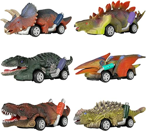 DINOBROS Dinosaur Toy Pull Back Cars, 6 Pack Dino Toys for 3 Year Old Boys and Toddlers, Boy Toys Age 3,4,5 and Up, P...