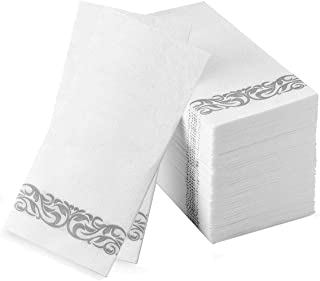 Nice Elegant Decorative Hand Towels Disposable Guest Towels Linen Feel Cloth Like Airlaid Paper Dinner Napkins for Dining Room Table Luncheon Banquet Wedding Reception Party Events Bulk Silver 200Pack