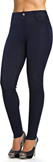 Jean Look Jeggings for Women Denim Womens Leggings Stretch Skinny with Pockets Cotton Blend