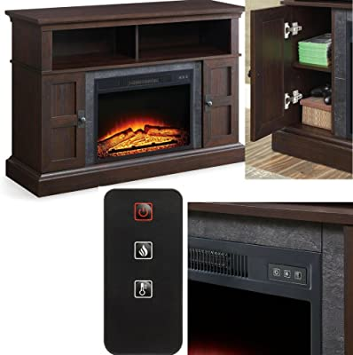 Amazon Com Efd Fireplace Tv Stand With Shelves And Cabinets