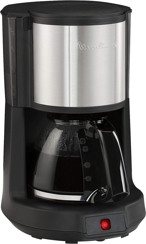 Moulinex Subito FG370811 - Cafetera de filtro, capacidad para 12 tazas, dispositivo antigoteo de salida del café, fácil limpieza, acero inoxidable