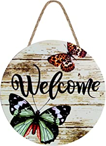 GEYUEMEY Welcome Sign, Welcome Sign Front Door Decor, 12 Inch Welcome Sign for Farmhouse Porch Front Porch Decorations Outdoor Hanging Farmhouse, Porch, Living Room, Housewarming Gifts, (Butterfly)
