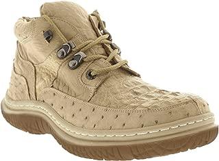 Men's Sand Tan Genuine Exotic Crocodile Ostrich Skin Sneaker