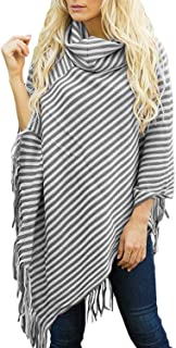 Womens Poncho Sweater V Neck Knitted Pullover Shawls Wraps Capes with Fringes Gifts for Women Mom