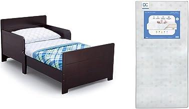 Delta Children MySize Toddler Bed, Dark Chocolate + Delta Children Twinkle Galaxy Dual Sided Recycled Fiber Core Toddler M...