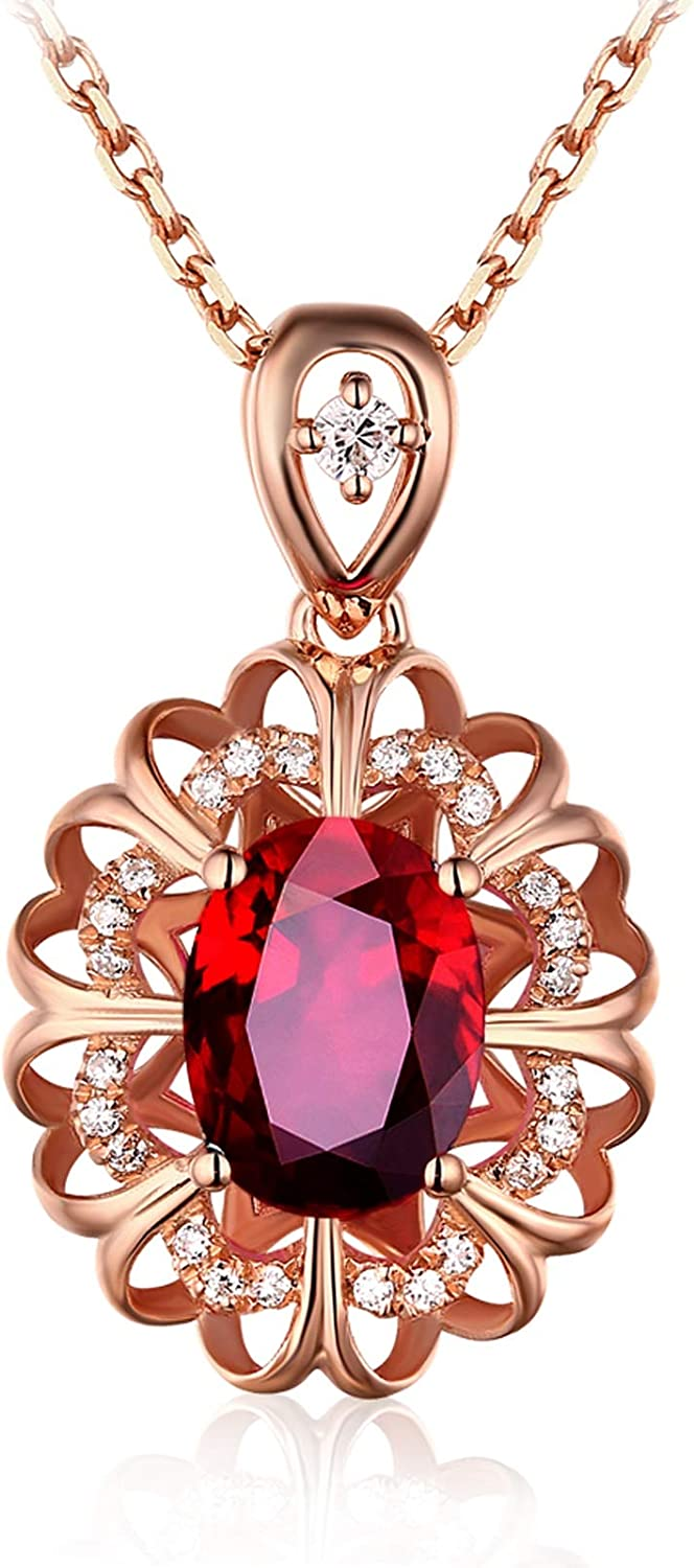 Daesar 18K Rose Gold Necklaces for Ruby Women 0.55ct Ranking TOP16 Red Large discharge sale Hollow