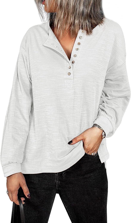 GOSOPIN Women V Neck Lantern Sleeve Button Down Sweatshirt Pullover Henley Shirts