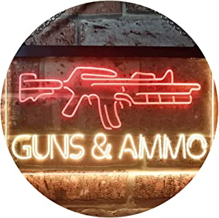 Guns Ammo Shop Dual Color LED Neon Sign Red & Yellow 300 x 210mm st6s32-i3294-ry