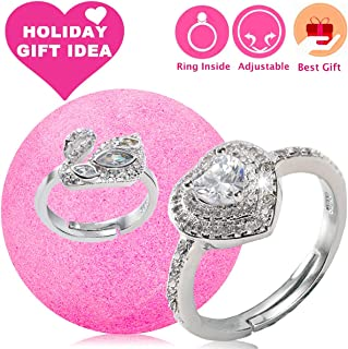 Jewelry Bath Bomb with Ring Surprise Prizes Gift Inside Bath Bomb Hidden Diamond Heart Rings One Sizes Fit All Bath Bombs Gift Set for Women