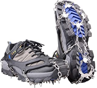 Walk Traction Ice Snow Cleat Treads Grips Grippers Crampons Creepers with 19 Spikes for Shoes Boots Men Women Walking Climbing Hiking Fishing Heavy Duty Anti Slip Stainless Steel