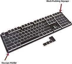Happy Balls PBT Keycaps Backlit Pudding Keycap Set Doubleshot Translucent OEM Profile with Keycaps Holder and Puller for 60%/87 TKL/104/108 MX Switches Mechanical Keyboard(Black Pudding)
