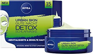 NIVEA Urban Skin Gute Nacht Detox im 3er Pack 3 x 50 ml, Gesichtsmaske für strahlende Haut über Nacht, regenerierende und erfrischende Gesichtspflege
