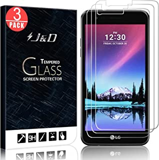 J&D Compatible for 3-Pack LG K4 2017/LG Aristo/LG Phoenix 3/LG Risio 2 Glass Screen Protector, [Tempered Glass] [Not Full Coverage] Ballistic Glass Screen Protector for LG Phoenix 3 Screen Protector